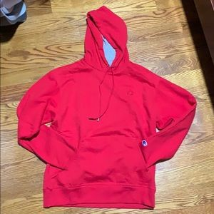 Red champion reverse weave pullover hoodie